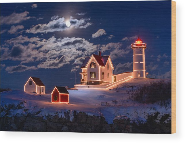 Cape Neddick Wood Print featuring the photograph Moon over Nubble by Michael Blanchette
