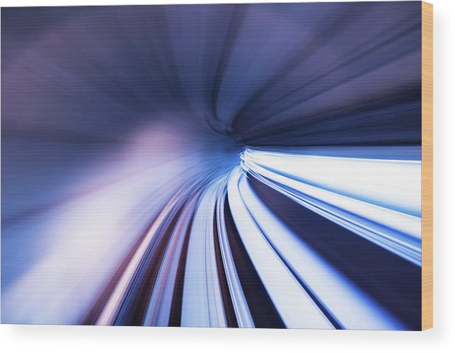 Curve Wood Print featuring the photograph Motion Tunnel by Loveguli
