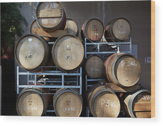 Stellenbosch Wood Print featuring the photograph Multible Wooden French Winebarrels On by Klaus Vedfelt