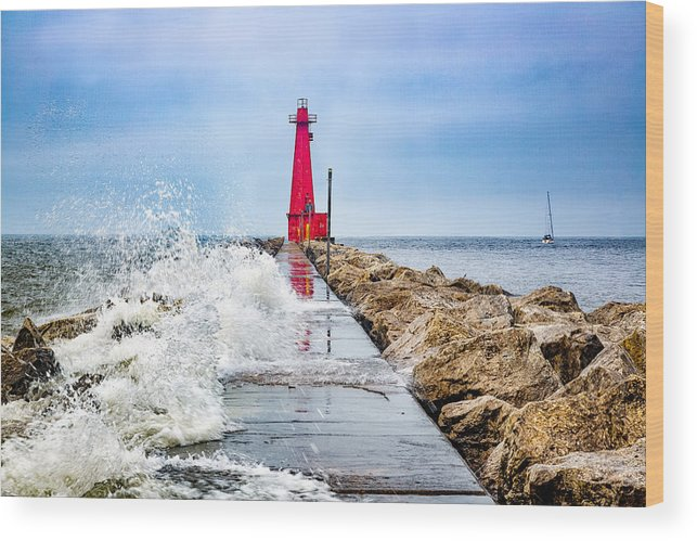Lake Michigan Wood Print featuring the photograph Muskegon Channel South Pier Lighthouse and Wave, Lake Michigan by Photography by Deb Snelson