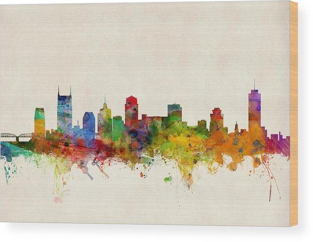 Watercolour Wood Print featuring the digital art Nashville Tennessee Skyline by Michael Tompsett