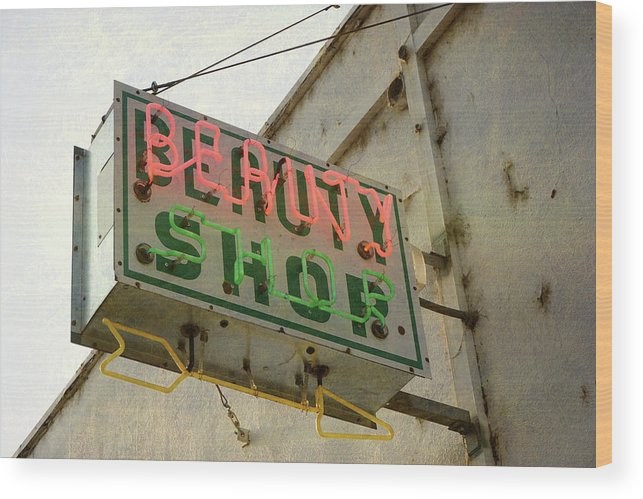 Pole Wood Print featuring the photograph Neon Beauty Shop Sign by Smodj