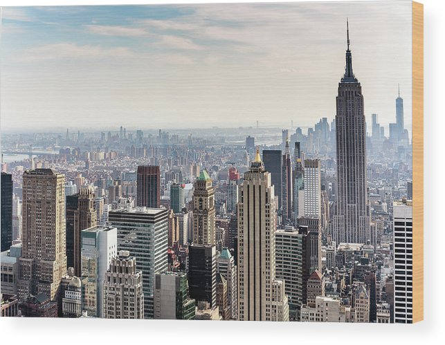 Scenics Wood Print featuring the photograph New York City Skyline by Denise Panyik-dale