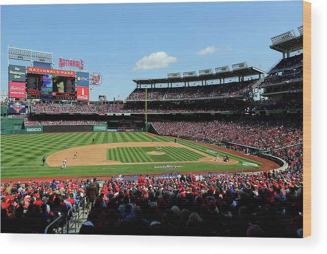 American League Baseball Wood Print featuring the photograph New York Mets V. Washington Nationals by Alex Trautwig