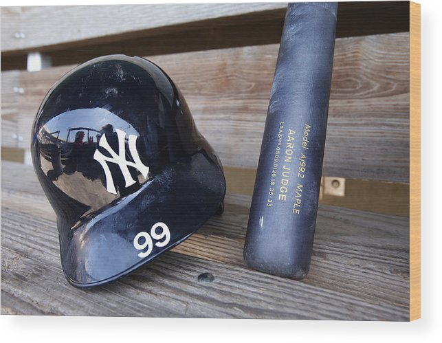 Headwear Wood Print featuring the photograph New York Yankees v Baltimore Orioles by Mike McGinnis