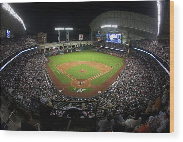 American League Baseball Wood Print featuring the photograph New York Yankees V Houston Astros by Bob Levey