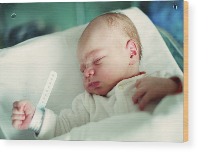 Tranquility Wood Print featuring the photograph Newborn Boy. First Day by Aleksandr Morozov