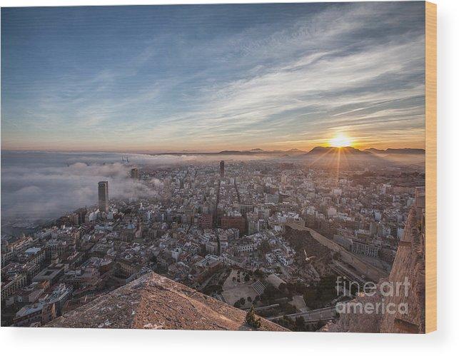 Alicante Wood Print featuring the photograph Niebla en Alicante by Eugenio Moya