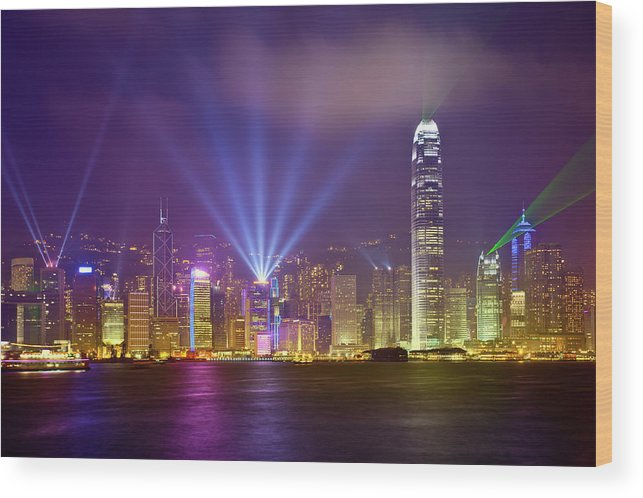 Chinese Culture Wood Print featuring the photograph Night Cityscape Of Hongkong by Ithinksky