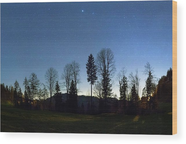 Beehive Wood Print featuring the photograph Night Panorama With Stars by Dr Juerg Alean