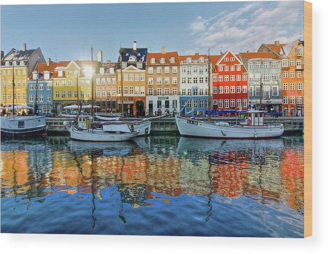 Copenhagen Wood Print featuring the photograph Nyhavn, Copenhagen, Denmark by Kateryna Negoda