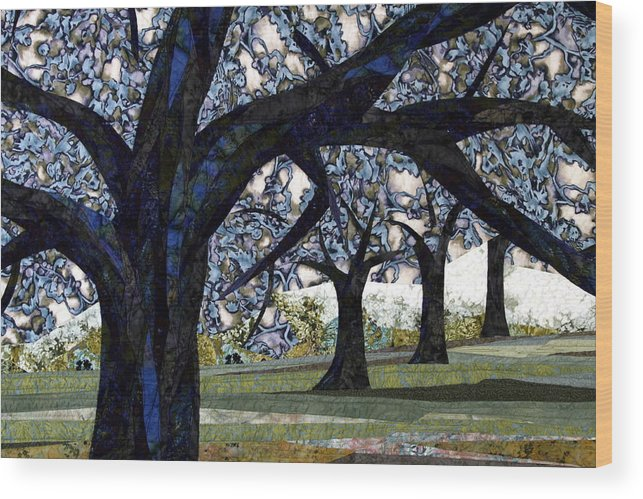Trees Wood Print featuring the tapestry - textile Oak Veiling by Linda Beach