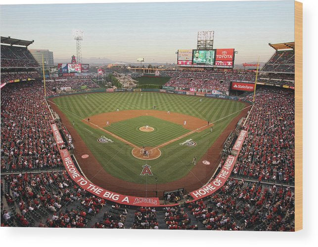American League Baseball Wood Print featuring the photograph Oakland Athletics V Los Angeles Angels by Jeff Gross