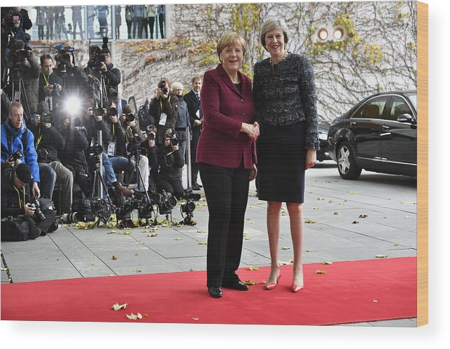 Theresa May Wood Print featuring the photograph Obama Meets With European Leaders In Berlin by Alexander Koerner