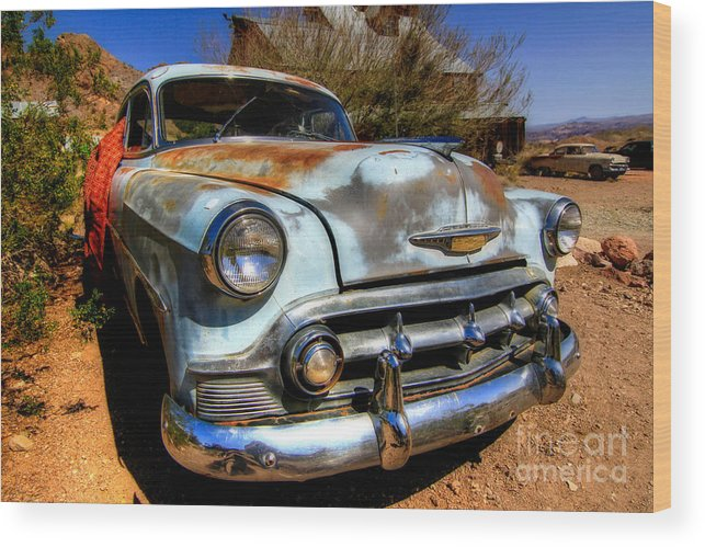 Blue Wood Print featuring the photograph Old Baby Blue Chevy by Brenda Giasson
