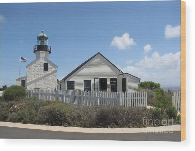 Lighthouse Wood Print featuring the photograph Old Point Loma Lighthouse 1 by Cedric Hampton