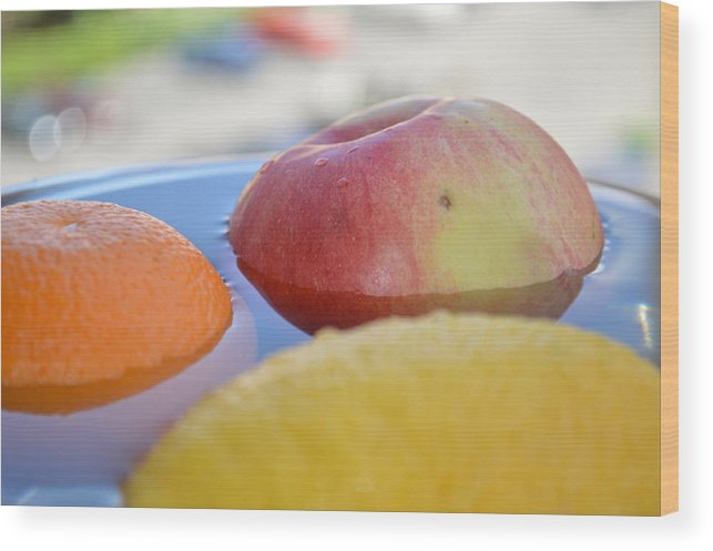 Apple Wood Print featuring the photograph Orange Yellow Red Green And Some Water by Adrian Bud