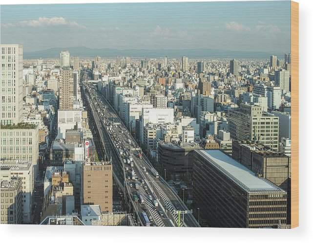 Osaka Prefecture Wood Print featuring the photograph Osaka Cityscape by I Love Photo And Apple.