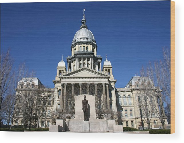 Democracy Wood Print featuring the photograph Outside view of the Illinois State Capitol Building by On-Track