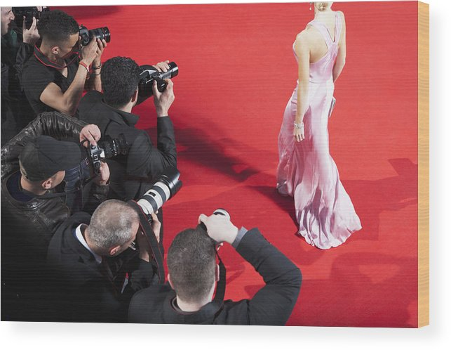 People Wood Print featuring the photograph Paparazzi taking pictures of celebrity on red carpet by Robert Daly
