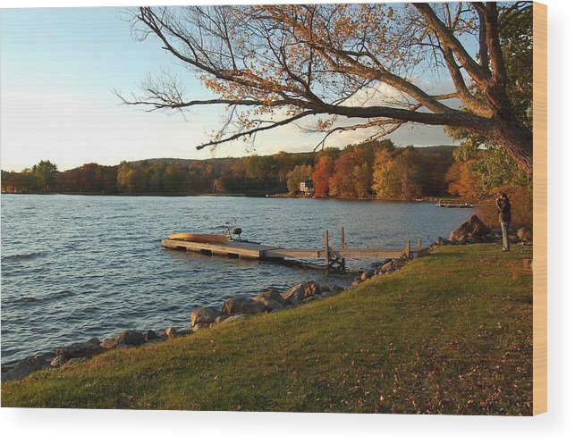 Autumn Wood Print featuring the photograph Peaceful Moment on the Lake by Judy Swerlick