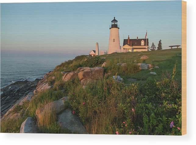 Tranquility Wood Print featuring the photograph Pemaquid Point Maine Lighthouse by Dave Mention Photography