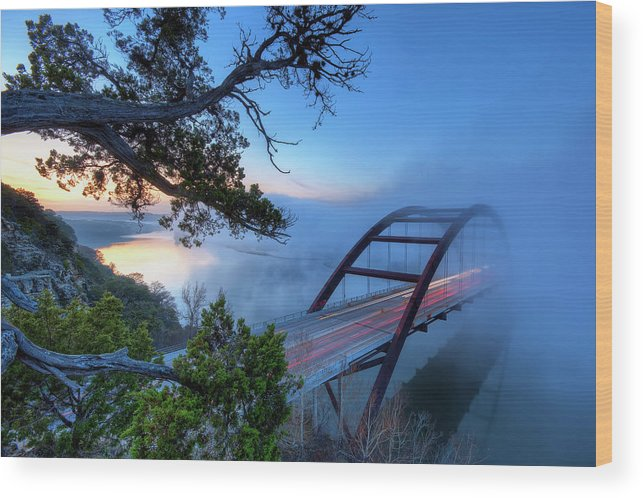 Tranquility Wood Print featuring the photograph Pennybacker Bridge In Morning Fog by Evan Gearing Photography