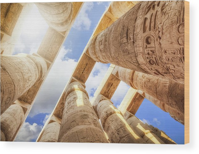 Ancient History Wood Print featuring the photograph Pillars Of The Great Hypostyle Hall by Cinoby