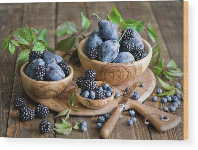 Plum Wood Print featuring the photograph Plums And Berries by Verdina Anna
