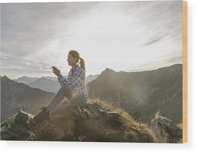 Mid Adult Women Wood Print featuring the photograph Portrait Of A Mid Adult Woman by Alan Graf
