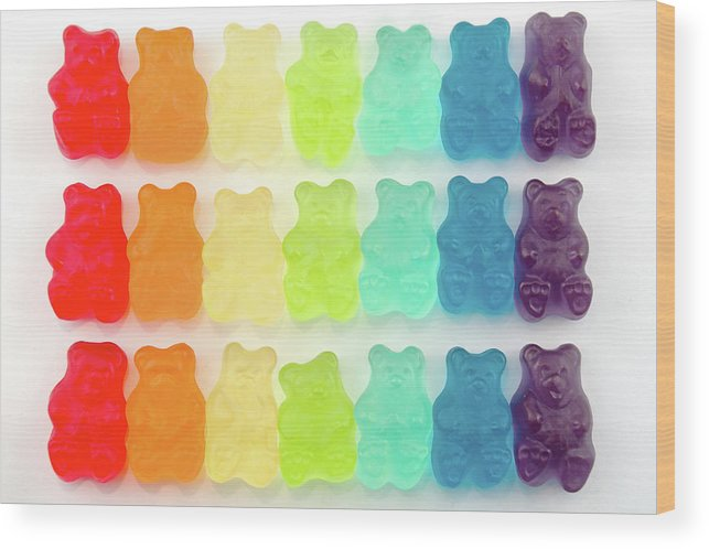 Order Wood Print featuring the photograph Rainbow Jelly Bear Candy by Melissa Ross