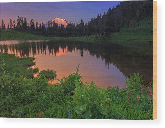 Mount Rainier Wood Print featuring the photograph Rainier Reflections by Manju Shekhar