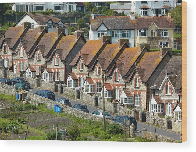 Row House Wood Print featuring the photograph Row Of Houses by Allan Baxter