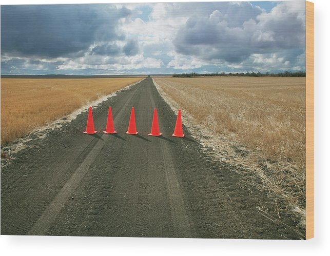 Orange Color Wood Print featuring the photograph Safety Cones Lined Up Across A Rural by Benjamin Rondel / Design Pics