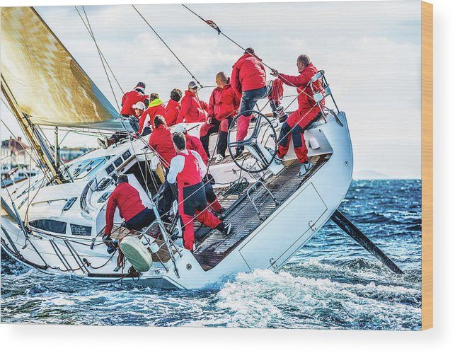Adriatic Sea Wood Print featuring the photograph Sailing Crew On Sailboat During Regatta by Mbbirdy