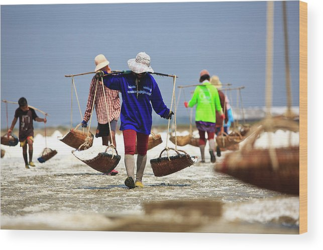 Child Wood Print featuring the photograph Salt Farm In Thailand by Monthon Wa