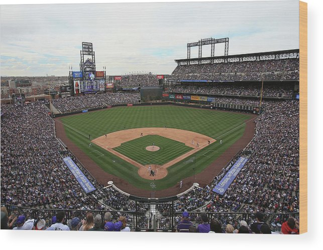 National League Baseball Wood Print featuring the photograph San Diego Padres V Colorado Rockies by Doug Pensinger