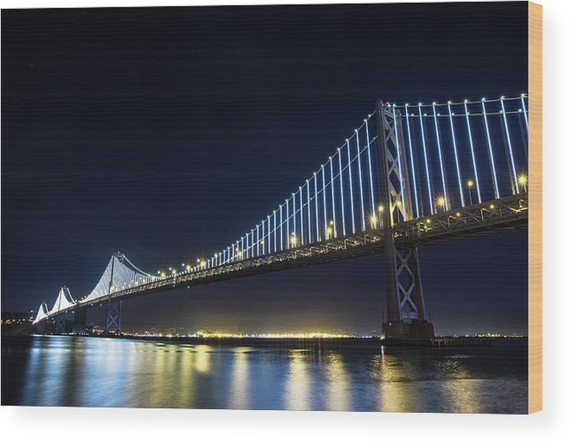 California Wood Print featuring the photograph San Francisco Bay Bridge With Led Lights by Halbergman
