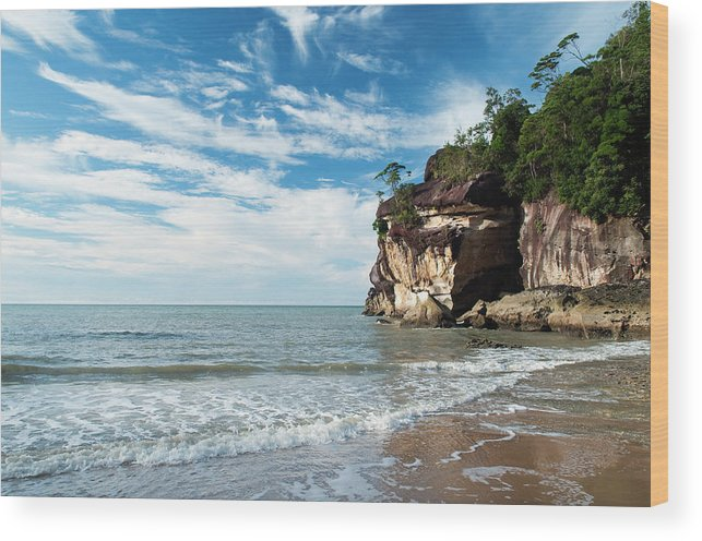 Scenics Wood Print featuring the photograph Sandstone Cliffs By Ocean At Telok by Anders Blomqvist