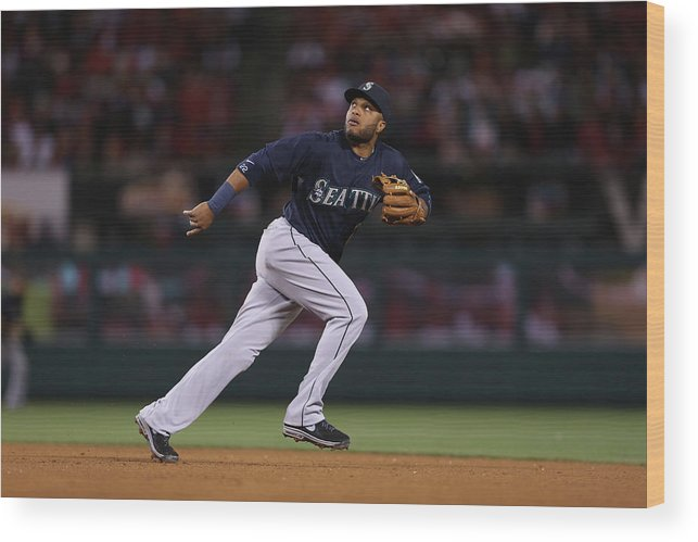 American League Baseball Wood Print featuring the photograph Seattle Mariners V Los Angeles Angels by Jeff Gross