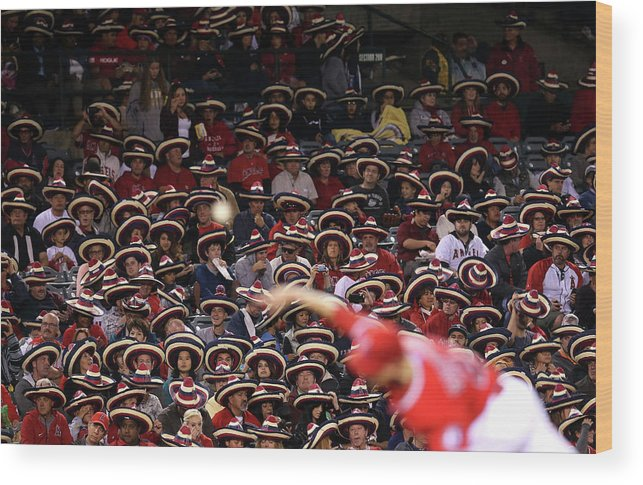 American League Baseball Wood Print featuring the photograph Seattle Mariners V Los Angeles Angels by Stephen Dunn