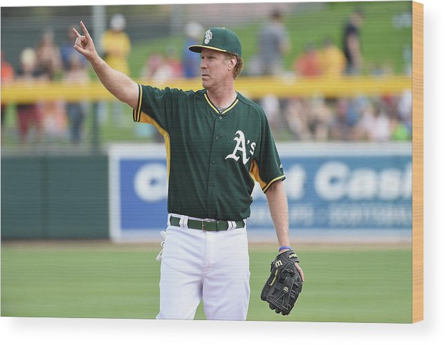 Event Wood Print featuring the photograph Seattle Mariners V Oakland Athletics by Lisa Blumenfeld