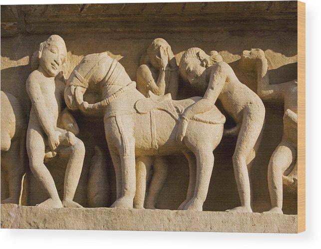 Horse Wood Print featuring the photograph Sex with horse, sculpture on Lakshmana Temple. Khajuraho. Madhya Pradesh, India by José Fuste Raga