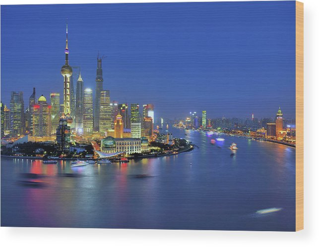 Clear Sky Wood Print featuring the photograph Shanghai Cityscape Across Huangpu River by Wei Fang
