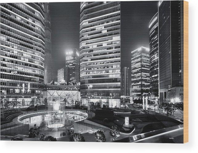 Financial District Wood Print featuring the photograph Shanghai by Photographer - Rob Smith
