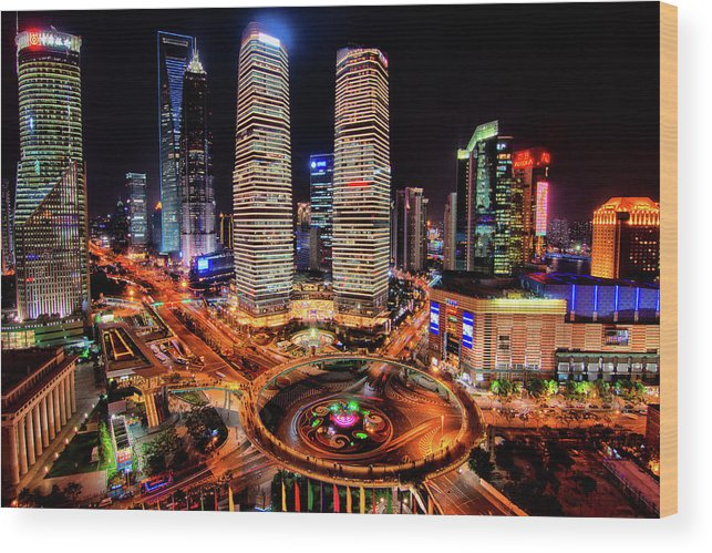 Financial District Wood Print featuring the photograph Shanghais Financial City Center by Mimo Khair Photography