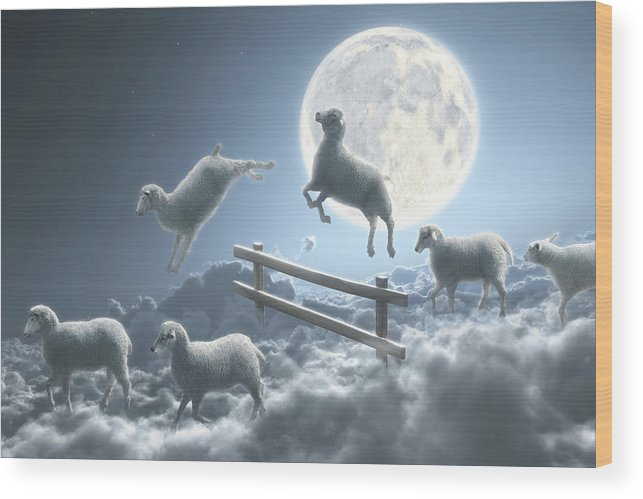 Animal Themes Wood Print featuring the digital art Sheep Jumping Over Fence In A Cloudy by Dieter Spannknebel