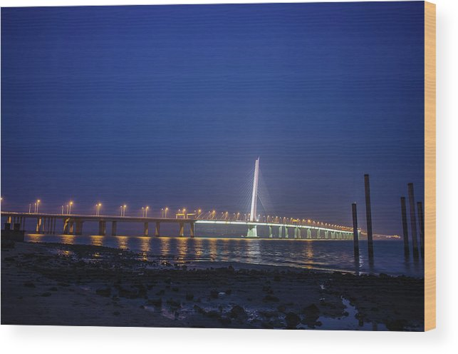 Tranquility Wood Print featuring the photograph Shenzhen Bay Bridge by Jeff Chen