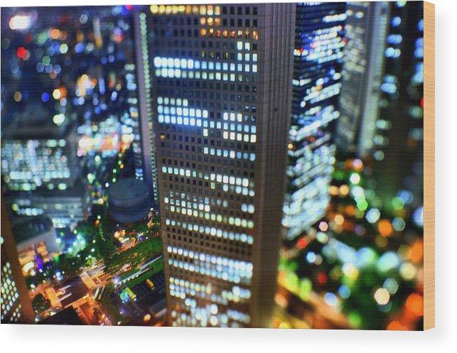 Built Structure Wood Print featuring the photograph Shinjuku by Takashi Kitajima