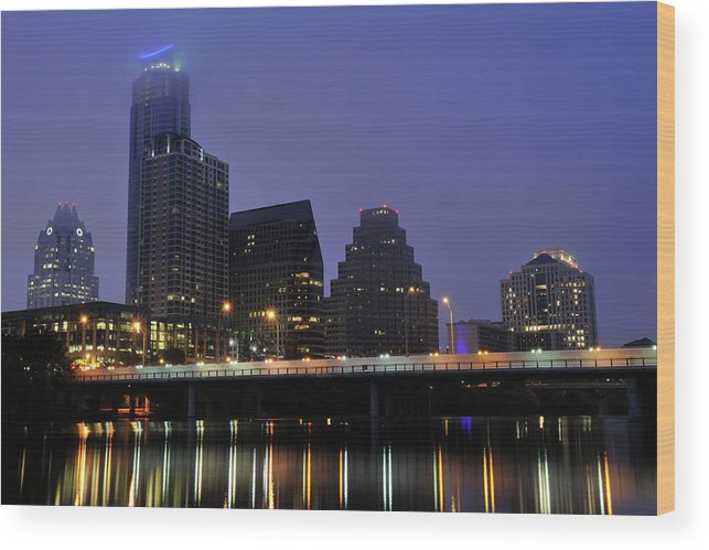Color Image Wood Print featuring the photograph Skyline And Bridge In Austin by Aimintang